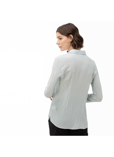 Lacoste Kadın Çizgili Gömlek CF0016.16T Yeşil